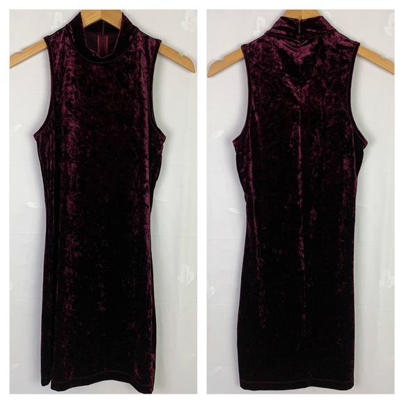 Forever 21 Mock Neck Mini Velvet Dress In Plum